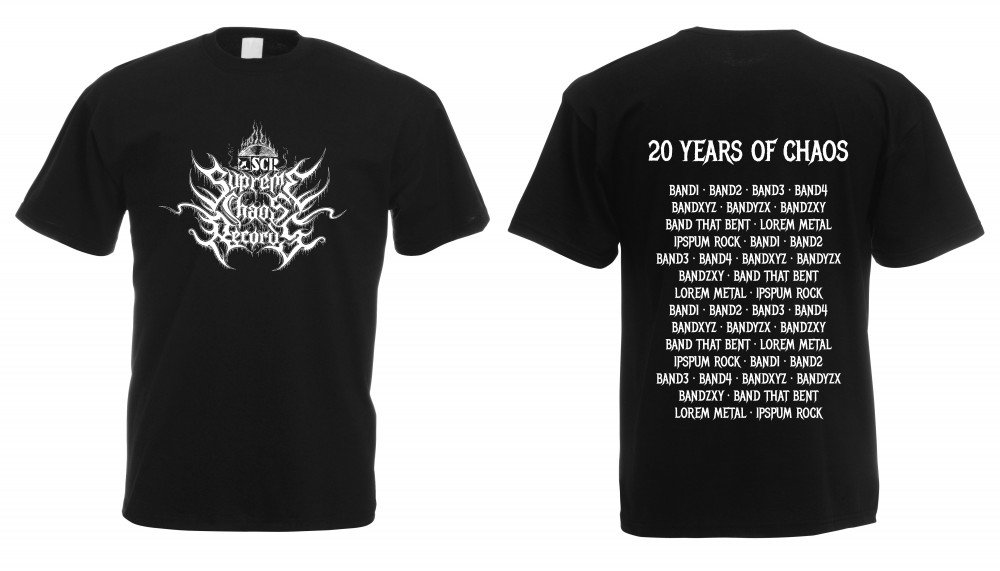 SUPREME CHAOS RECORDS - 20 Years Of Chaos Bands Shirt S (TS-S)