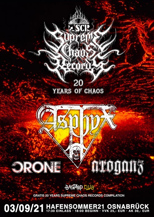 SUPREME CHAOS RECORDS - 20 Years Of Chaos Open Air w/ Asphyx, Crone, Arroganz (TICKET)
